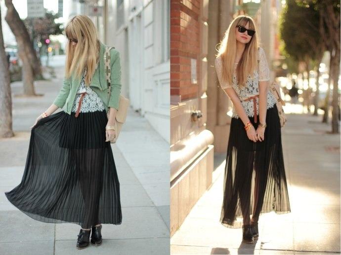 Модные тренды года: длинная плиссированная юбка